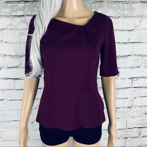 WHBM Maroon Peplum Top with Rouched Neck